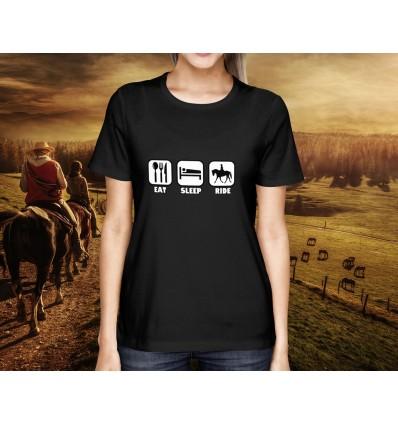 Dámské tričko s motivem Jezdectví Eat sleep ride