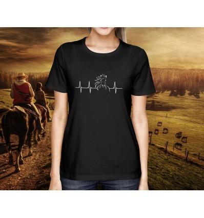 Dámské tričko s motivem Jezdectví Heartbeat