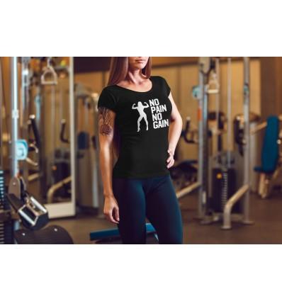 Dámské workout, fitness tričko NO PAIN NO GAIN