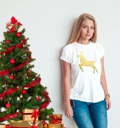Dámské vánoční tričko se zlatým sobem MERRY CHRISTMAS